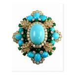 Vintage Costume Jewellery Rhinestones Diamonds Post Card