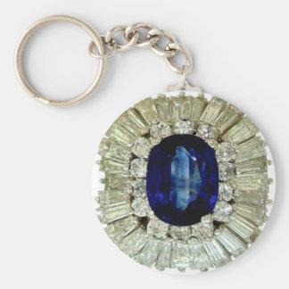 Vintage Costume Jewelry Rhinestones Diamonds Basic Round Button Key Ring
