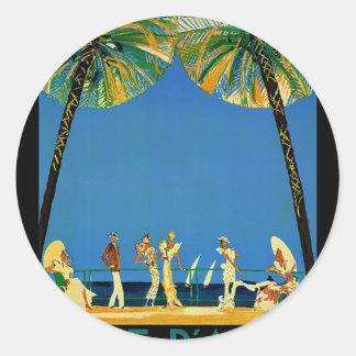 Vintage Cote D'Azur French Travel Classic Round Sticker