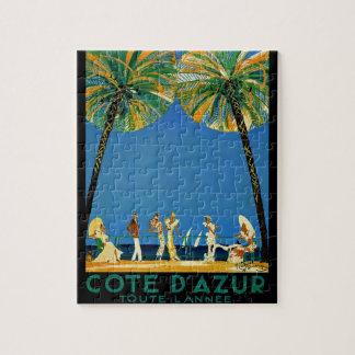 Vintage Cote D'Azur French Travel Jigsaw Puzzles