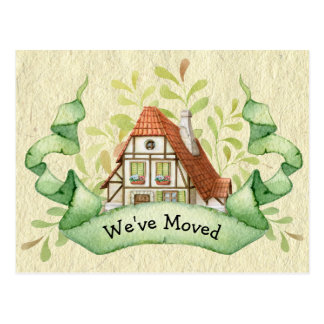 Vintage Cottage Change of Address Postcard
