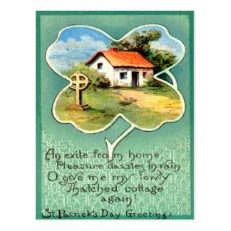 Vintage Cottage Irish Cross St Patrick's Day Card