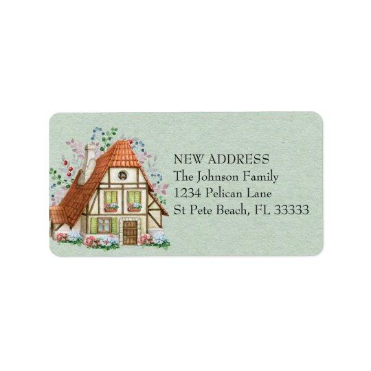 Vintage Cottage on Teal Paper New Address Label