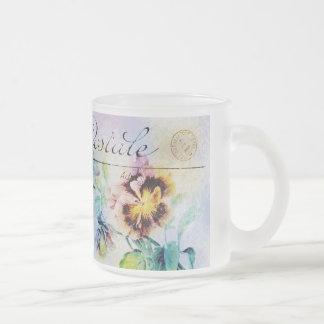 Vintage cottage pansy flower postcard mugs