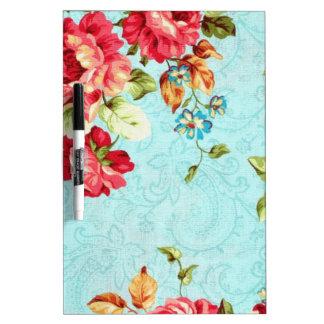 Vintage Cottage Red Rose Floral Dry Erase Boards