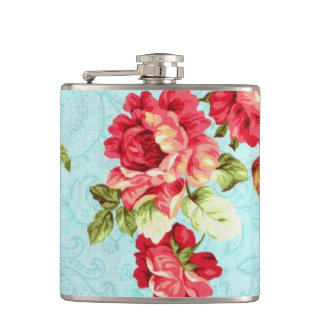 Vintage Cottage Red Rose Floral Flask