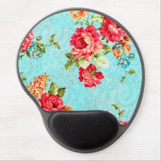 Vintage Cottage Red Rose Floral Gel Mouse Pad