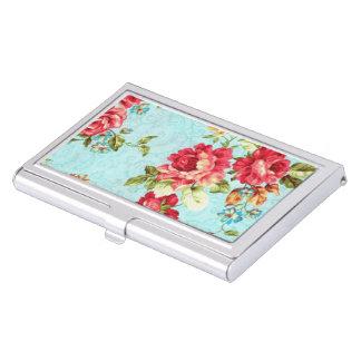 Vintage Cottage Red Rose Floral Case For Business Cards