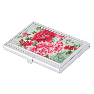 Vintage Cottage Red Rose Floral Business Card Holder