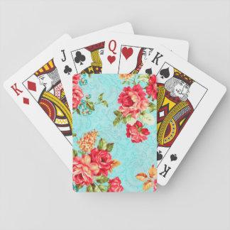 Vintage Cottage Red Rose Floral Poker Cards