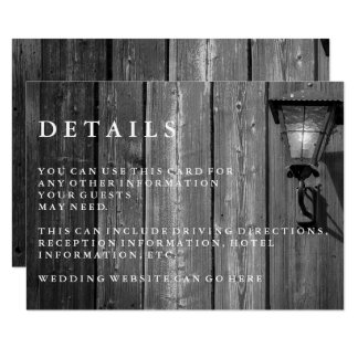 Vintage Country B/W Barn Wedding Guest Details Card