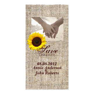 vintage country burlap  yellow sunflower wedding personalized photo card