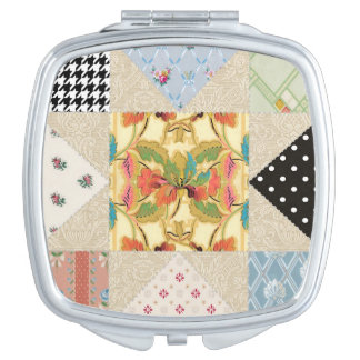 Vintage Country Charm Evening Star Quilt Pattern Mirror For Makeup