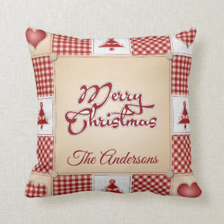 Vintage Country Christmas Patchwork Quilt Pillow