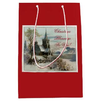 Vintage Country Church Medium Gift Bag
