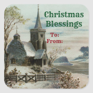 Vintage Country Church Square Sticker