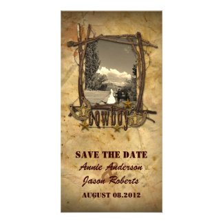 Vintage country cowboy wedding  photocard personalized photo card