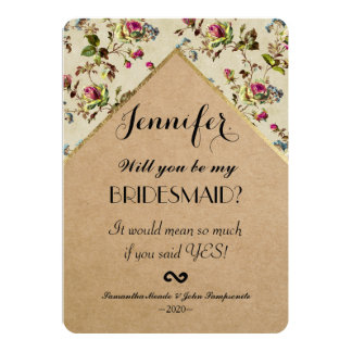 Vintage Country Floral & Gold Trim Recycled Paper Card