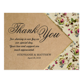 Vintage Country Floral & Gold Trim Recycled Paper Postcard
