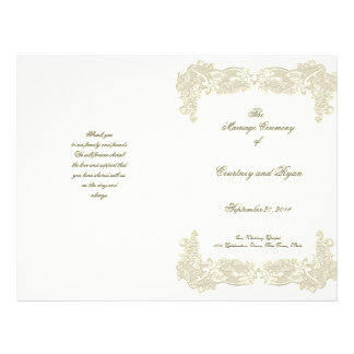 Vintage Country Floral Lace Wedding Program 21.5 Cm X 28 Cm Flyer