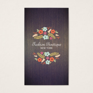 Vintage Country Floral Wood Business Card