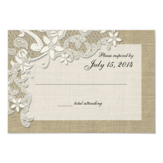 "Vintage Country Lace Design and Burlap 3.5"" X 5"" Invitation Card"