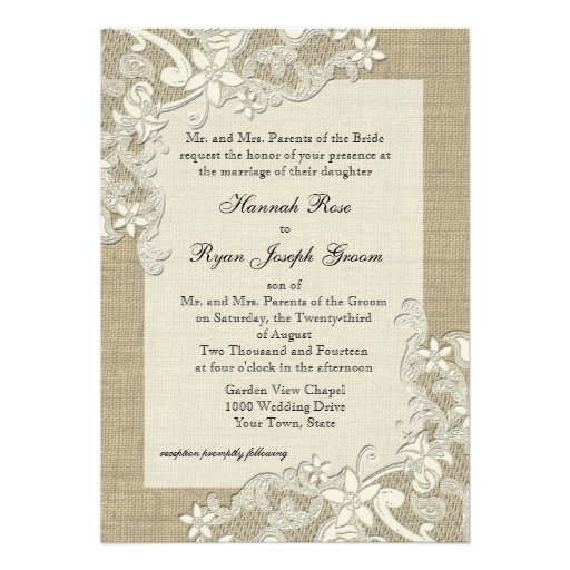 Vintage Country Lace Design and Burlap Personalized Announcements