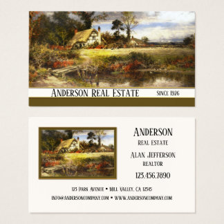 Vintage Country Painting Real Estate Business Card