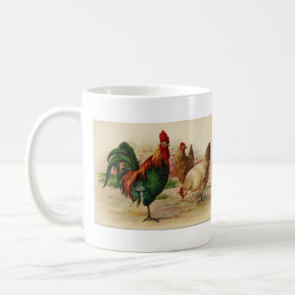 Vintage Country Rooster and Chicken mug