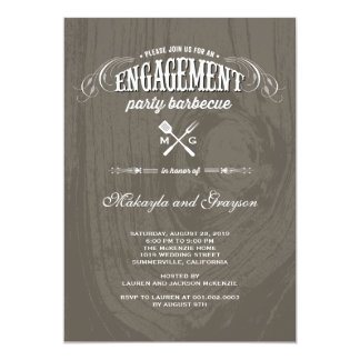 Vintage Country Rustic Wood BBQ Engagement Party Card