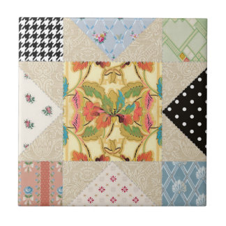 Vintage Country Style Evening Star Quilt Pattern Small Square Tile