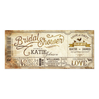 Vintage Country Western Rustic Bridal Shower 10 Cm X 24 Cm Invitation Card