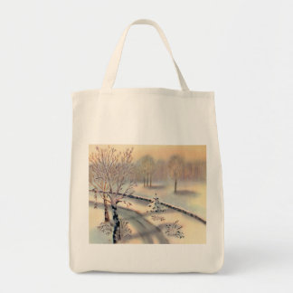 Vintage Countryside Christmas Organic Grocery Tote Tote Bag