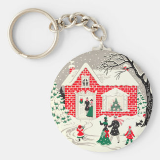 Vintage Countryside Greetings Keychain