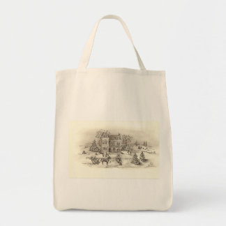 Vintage Countryside Organic Grocery Tote Canvas Bag