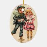 Vintage Couple Ice Skating & Holding Hands Ceramic Oval Decoration