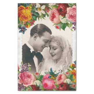 Vintage Couple in Love Wedding Roses Tissue Paper