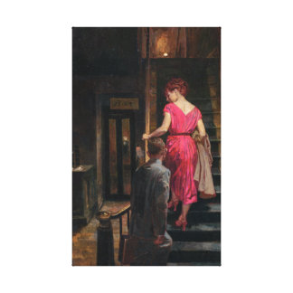 Vintage Couple on Stairs Hotel Bar Canvas Print
