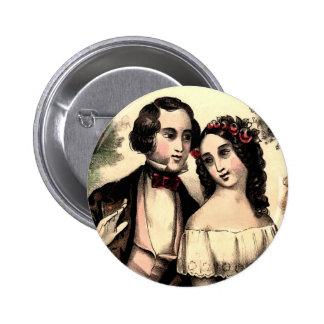 Vintage Couple Valentine Round Button