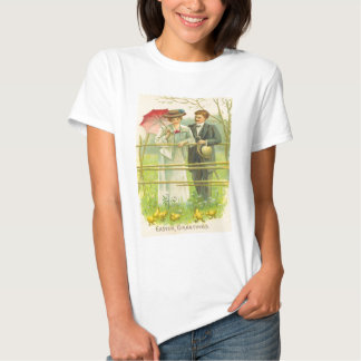 Vintage Couple Viewing Easter Chicks Easter Card T-shirts
