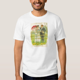 Vintage Couple Viewing Easter Chicks Easter Card T Shirts