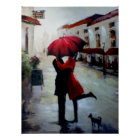 Vintage Couple with Umbrella and Dog Poster Print