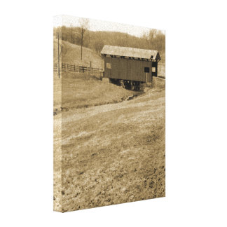 Vintage Covered Bridge Canvas Print
