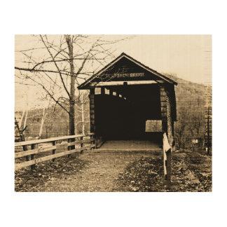 Vintage Covered Bridge Wood Canvas
