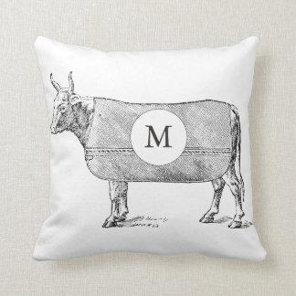 VINTAGE Cow Blanket Black White Monogram Pillow