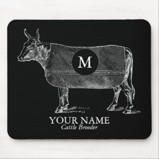 Vintage Cow Blanket Monogram Black Mousepad