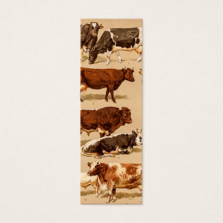 Vintage Cow Calf Bull Dairy Cows Farm Illustration Mini Business Card