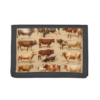 Vintage Cow Calf Bull Dairy Cows Farm Illustration Trifold Wallets