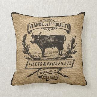 Vintage Cow Deli Advertisment Burlap Cushion