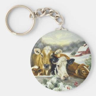 Vintage Cow Image Basic Round Button Key Ring